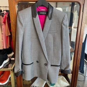 Barbara Bui Jacket Black Leather Collar Blazer